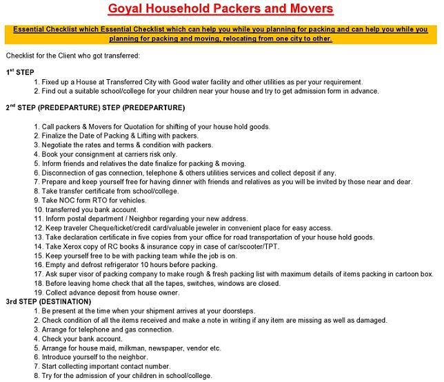 Checklist | Packers Movers List